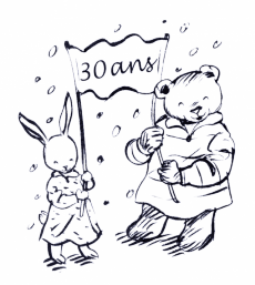 illustration of bear and rabbit - Moulin Roty